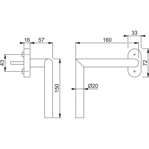 Schéma AMSTERDAM - E0499/US956 PMR, personne à mobilité réduite, F69 inox, sens droit de 150mmx150mm